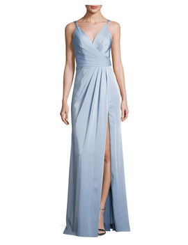 Sleeveless Ruched Stretch Faille Gown, Blue by Faviana