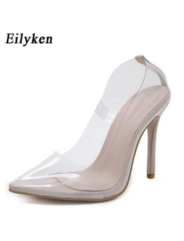 Eilyken Clear Plastic Transparent Pvc Pump Club Party Pump Shoes Woman  Color Foot  Wear Designer Shoes Women High Heels 12 Cm  by Eilyken