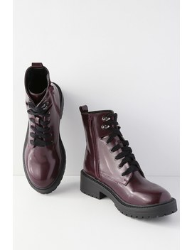 Alicee Burgundy Lace Up Combat Boots by Madden Girl
