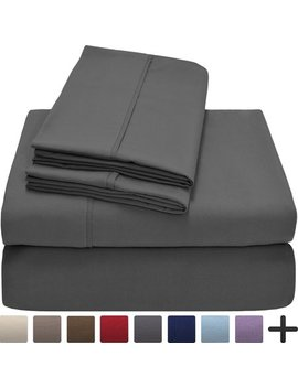 Premium 1800 Ultra Soft Microfiber Collection Sheet Set   Double Brushed   Hypoallergenic   Wrinkle Resistant   Deep Pocket (Queen, Grey) by Bare Home