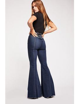 Crvy Super High Rise Lace Up Flare Jeans by Free People