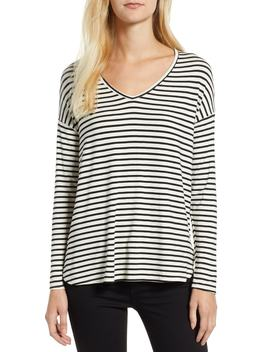 V Neck Stripe Top by Gibson