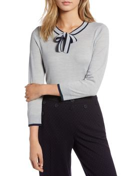 Tipped Tie Neck Wool Blend Sweater by 1901
