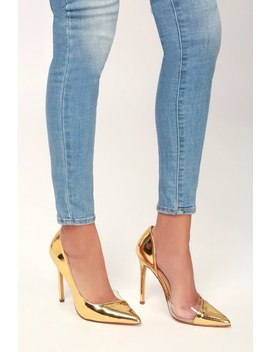 Issie Gold Patent D'orsay Pumps by Lulu's