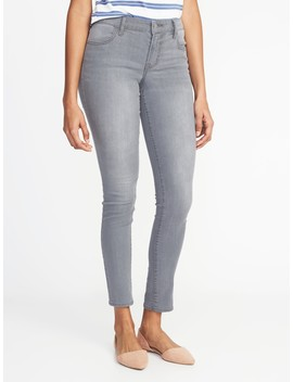 Mid Rise Gray Wash Super Skinny Jeans For Women by Old Navy