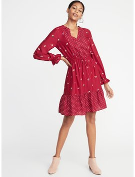 Mixed Print Waist Defined Shirt Dress For Women by Old Navy