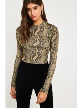 Uo Gold Glitter Snake Print Top by Urban Outfitters