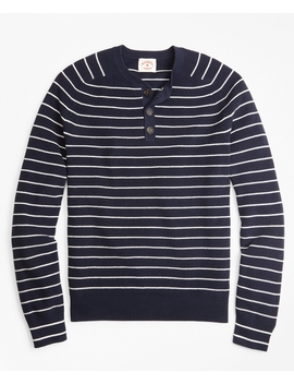 Striped Cotton Henley Sweater by Brooks Brothers