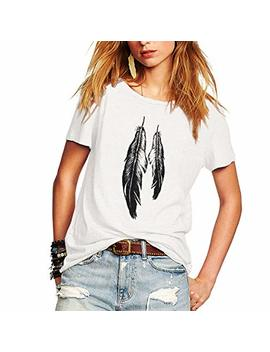 Weigou Summer Woman T Shirt Street Style Feathers Printed Short Sleeve T Shirt Casual Loose Lady Tops Juniors Tees by Weigou