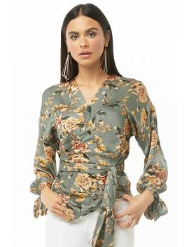 Silky Floral Print Wrap Top by Forever 21