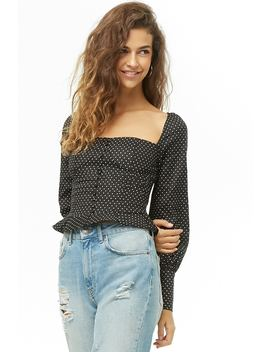 Polka Dot Square Neck Top by Forever 21
