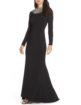 Beaded Collar Jersey Gown by Mac Duggal