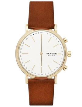 Nwt Skagen Connected Hybrid Smartwatch Gold Tone Brown Leather Watch Skt1206 by Skagen