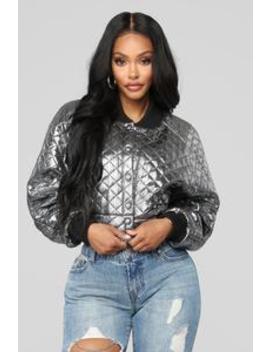 Why Not Metallic Bomber   Silver by Fashion Nova