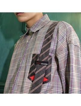 Primo   Tie Applique Plaid Shirt by Primo