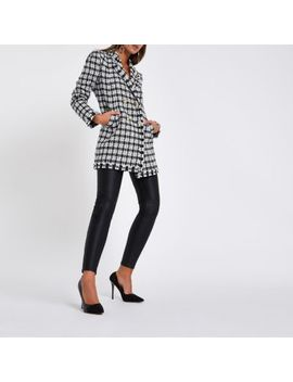 White Check Boucle Longline Jacket by River Island