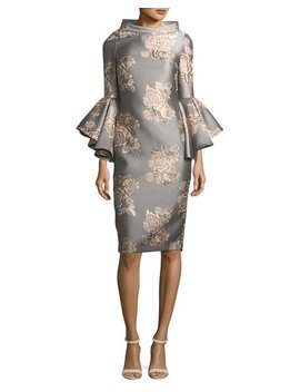 Funnel Neck Flutter Sleeve Floral Jacquard Cocktail Dress by Badgley Mischka Collection