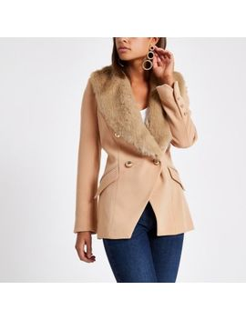 Beige Faux Fur Trim Double Breasted Jacket by River Island