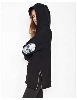 Women's Black Corbin Sml Star Eye Skull Pullover Hoodie W/ Side Zippers by Lauren Moshi