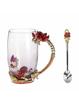 Wayday Red Rose Enamel Glass Mug: Crystal Clear Glass Cup With Matching Enamel Spoon, Anti  Slip Pad & Wipe Cloth, 370 Ml Tea & Coffee Cup With Elaborate Flower Handle by Wayday