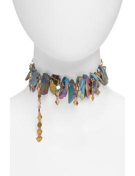 Black Dahlia Aura Quartz Collar Necklace by Hespera Jewelry