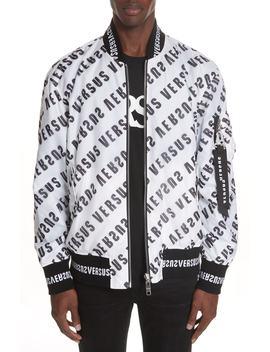 Diagonal Mirror Logo Reversible Bomber Jacket by Versus Versace