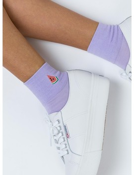 Watermelon Embroidered Crew Socks by Princess Polly
