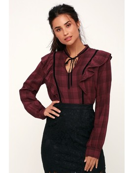 Here For You Burgundy Plaid Ruffled Long Sleeve Top by Lush