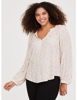 Ivory Feather Crepe Blouse by Torrid