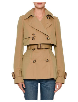 Double Breasted Cotton Short Trench Coat by Alexander Mc Queen