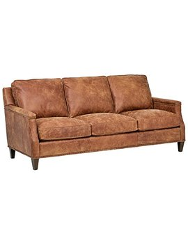"Stone & Beam Marin Leather Studded Sofa, 87""W, Saddle Brown by Stone & Beam"