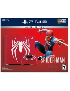 Limited Edition Red Spiderman Play Station 4 Ps4 Pro 1 Tb Console Bundle by Sony