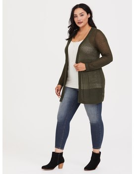 Olive Pointelle Knit Cardigan by Torrid