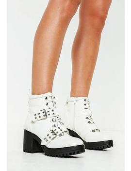 White Vinyl Chunky Sole Double Strap Biker Boots by Missguided