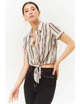 Striped Knotted Shirt by Forever 21