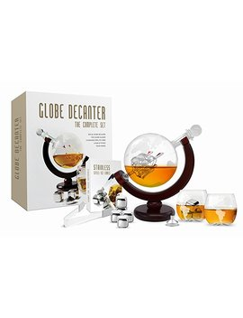 Whiskey Decanter Set World Etched Globe Decanter Antique Ship Glasses  Tongs Bar Funnel Stopper Liquor Dispenser Spirits Scotch Bourbon Vodka Rum Wine Tequila Brandy Perfect Gift 850 Ml by Flybold