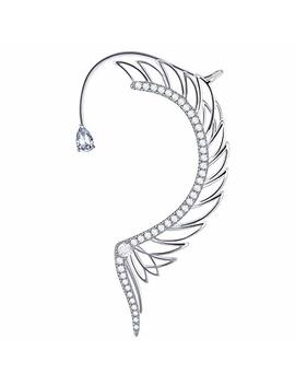 Lilie&White 1 Pc Left Side Platinum Plated Earrings Crawlers In Angel Wings Cuff Earrings Hypoallergenic by Lilie&White
