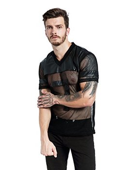 F Plus R Mens Novelty Character T Shirt Fashion Faux Leather Mesh Stitching Tees by F Plus R