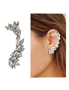 Cute Crystals Cuff Earrings Hypoallergenic Stud Ear Climber Jacket For Women 1 Pc by Quaappaa