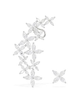 Cubic Zirconia Lilac Flower Cluster Cartilage Ear Wrap Cuff Stud Earrings Silver Tone by Lxlp