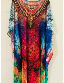 Boho Maternity Dress, Kaftan, Bohemian Dress, Kaftans Plus Size, Caftan, Beach Kaftan Dress, V Neck Abstract Maxi Dress In Multicolor by Kaftan Buzz