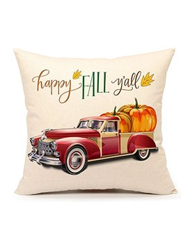 4 Th Emotion Happy Fall Y'all Truck Pumpkin Throw Pillow Case Cushion Cover 18 X 18 Inch Cotton Linen Halloween Thanksgiving Home Decor by 4 Th Emotion