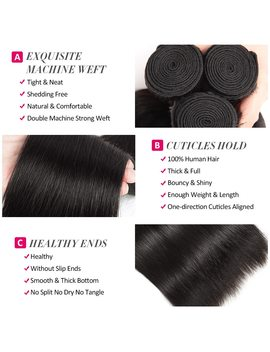 Beautiful Princess Peruvian Straight Hair 4 Bundles With Closure Double Weft Human Hair Bundles With Closure Non Remy by Beautiful Princess