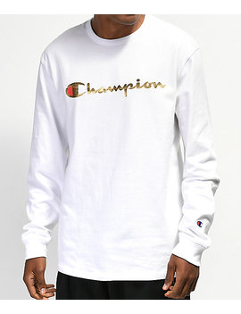 Champion Heritage Gold &Amp; White Long Sleeve T Shirt by Champion