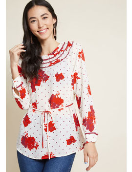 Retro Refresh Long Sleeve Top In Print Mix by Modcloth