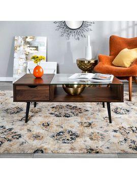 "42""  Mid Century Modern Dark Walnut Wood & Glass Coffee Table by Pier1 Imports"