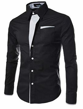 The Lees N320 Mens Casual Long Sleeve Stripe Patched Fitted Dress Shirts by The Lees