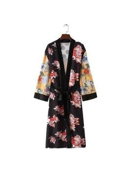 Women Lady Bohemia Floral Tassel Long Kimono Oversized Shawl Maxi Tops Dress Bn by Unbranded