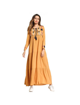 Ethnic Styles Long Sleeve Dress O Neck Embroidery Tassel Lace Up Maxi Dress by Unbranded