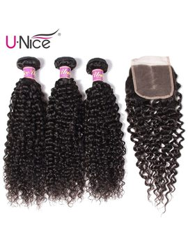 U Nice Hair Icenu Remy Hair Series Malaysian Curly Hair Bundles With Closure Human Hair Extension 4 Pcs Lace Closure With Bundles  by Unice